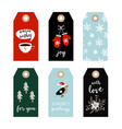 set cute christmas gift tags labels with bird vector image vector image