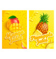 set fresh mango and pineapple juice background vector image vector image