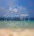 Set icons on seascape background vector image vector image