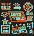set of super sale and discount tags vector image vector image