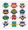 set vintage camping and outdoor activity logo vector image