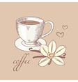 Sketched cofee cup with vanilla flower vector image vector image