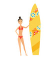 summer surfing girl or vector image vector image