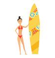 summer surfing girl vector image