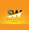 sw s w letter modern logo design with yellow vector image
