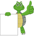 Turtle cartoon with blank sign vector image vector image