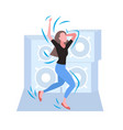 woman dancing female dancer enjoying dance party vector image
