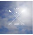 Yoga club logo on blurry photo of sea