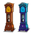 stylish antique grandfather clocks made of wood vector image