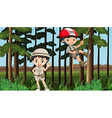 Boy and girl having fun in the forest vector image vector image