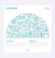 car service concept in half circle vector image vector image