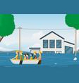 cartoon rescue boat team card background vector image vector image