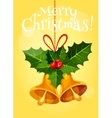 Christmas bell with holly berry and red ribbon vector image