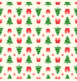 christmas pattern with christmas tree vector image vector image