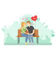 couple in love hugging on the bench image vector image vector image