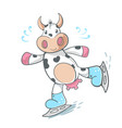 cow cute - ice scate vector image