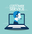 customer service laptop agent support online vector image