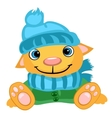 Cute dog in winter hat scarf and jacket vector image vector image