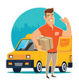 delivery man and track vector image vector image