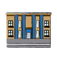 drawn building with column commercial business vector image vector image