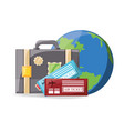 earth planet with briefcase and tickets vector image