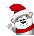 Funny Christmas cat on a white background vector image vector image