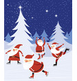 funny santas skating in winter forest vector image vector image