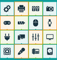 gadget icons set with camera loudspeaker battery vector image vector image