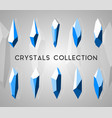 geometric isolated 3d crystals set vector image