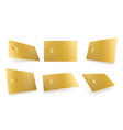 gold credit card mockup isolated blank template vector image