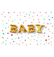 gold letter baby balloons birthday gold vector image