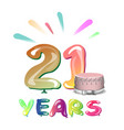 greeting card for twenty one year vector image vector image