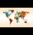 Grunge colorful world map vector image vector image