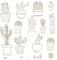 hand drawn seamless pattern with cactus vector image