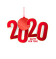 happy new year 2020 red text background design vector image