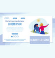 healthy lifestyle landing page template vector image