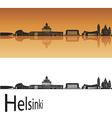 Helsinki skyline in orange background vector image vector image