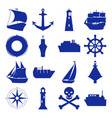 marine collection of ship silhouette icons in flat vector image vector image