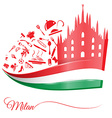 milan cathedral with food element vector image