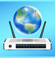 modem router with earth globe connect internet vector image vector image
