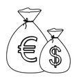 monochrome contour with money bags with currency vector image