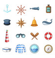 nautical icons set cartoon style vector image vector image