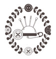 needle button and pin tailor shop design vector image vector image