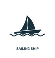 sailing ship icon in flat style icon vector image vector image