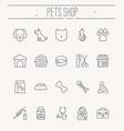 set icons for vet clinic pet shop dog vector image