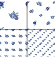 Set of four seamless patterns with blue flowers vector image