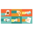 set of hands purchase payment credit flat vector image