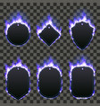 set of six frames surrounded with blue flame vector image vector image