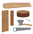 Set wood and tools vector image vector image