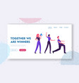 teamwork cooperation website landing page group vector image vector image